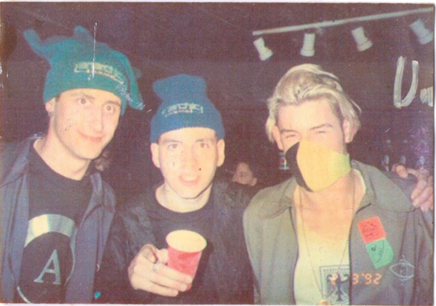 Derry on the right and members of Jesus Jones